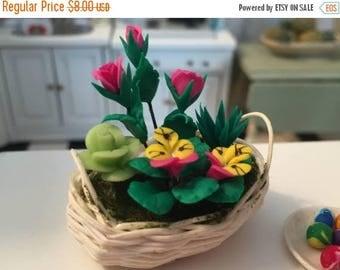 SALE Miniature Basket of Flowers, Roses & Pansies, Dollhouse Miniatures, 1:12 Scale, Flower Arrangement, Mini Flowers in Wicker Basket