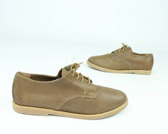 90s Leather Oxford Shoes Lace Up Tie NOS Light Brown Vintage 1990s Womens Size 9