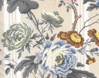 Designer Vintage Clarence House Blue Floral Peony Bouquet Fabric - Glazed Egyptian Cotton