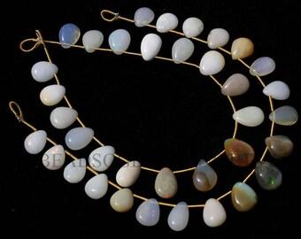 Semiprecious Beads, Ethiopian Opal Smooth Pear (Quality B) / 7.5x9.5 to 8x11 mm / 18 cm / ET-102