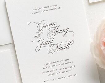 Quinn Letterpress Wedding Invitations - Deposit