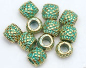 5 Tube-Shaped Vintage Gold and Green Spacer Beads 8mm