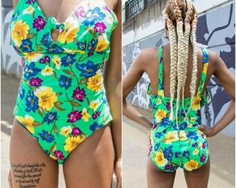 Floral Swimsuit - Festival Swimsuit - Vintage One Piece Swimsuit - Cut Out Swimsuit - Neon Swimsuit - Festival Bodysuit - High Cut Swimsuit