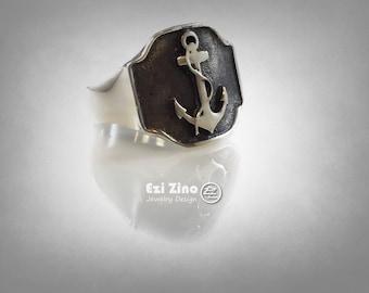 EZI Zino Anchor Sea Captain Signet Ring Solid Sterling Silver