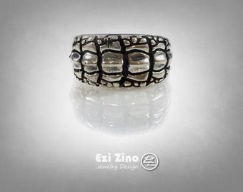 Original Ezi zino Crocodile alligator Texture Crocodile ring Handmade solid Sterling Silver 925