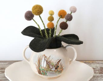 Felt Plant in Pot - Wool Plant - Knit Leaves - Fake Plant - Pom pom Mustard Flowers - Wild Ducks Sugar Bowl Crockery - Office Potted Plant