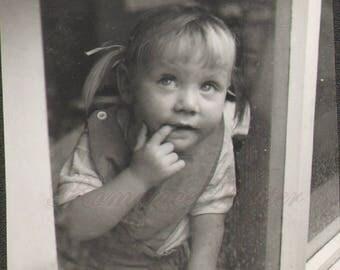 Darling Little Girl Pigtails Chews Finger Vintage Photo