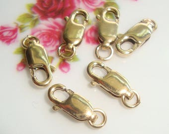 5 pcs, 10x4mm, 14k Gold Filled Lobster Claw with Open Ring - made in USA, Hallmarked
