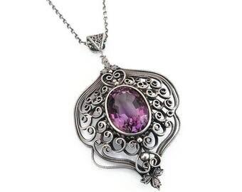 Vintage Sterling Amethyst Necklace - Victorian Style, Purple Gemstone, Sterling Silver, Silver Filigree, Vintage Necklace