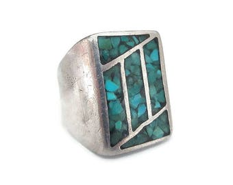 Crushed Turquoise Sterling Ring - Wide Thick Band, Sterling Silver, Native American Style, Vintage Ring, Size 9.75 to 10