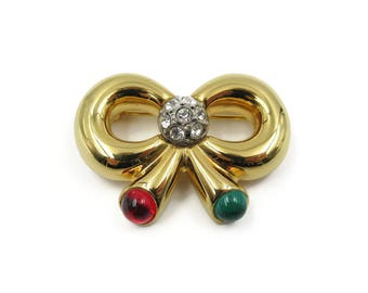 Joan Rivers Gold Bow Rhinestone Brooch - Green Red Glass Cabochons, Christmas Brooch, Gifts for Her, Vintage Pin