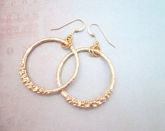 Gold Hoop Dangle Earrings -- Gold Fashion Hoops -- Unique Gold Hoop Earrings -- Medium Gold Hoops -- Textured Gold Circle Earrings