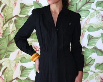 1940s Dress / Deadstock Dress / Forties Daywear / War Era / Inky Black Wool Dress / Gatsby Dress / Little Black Winter Dress