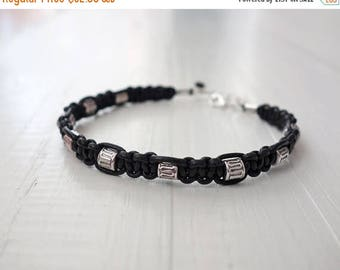 Summer Sale Black leather bracelet metal beads mens leather cuff unisex women
