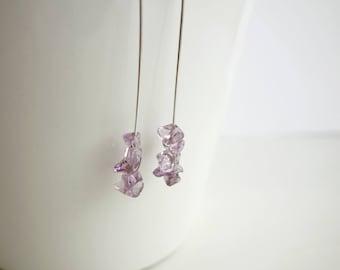 Long amethyst earrings minimalist dangle earrings amethyst stone earrings for women