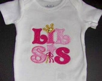 Custom Boutique Lil Sis Embroidered Appliquéd Onesie Baby Infant