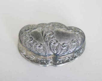 vintage silver plate heart jewelry box