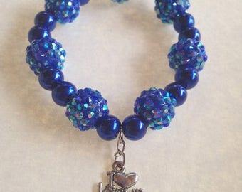 BIG Clearance Sale I Love Jesus Charm Blue Pearl Glass and Resin Rhinestone Bead Bracelet