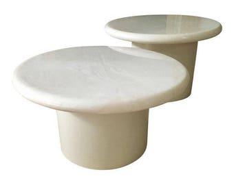 Vintage Mushroom Marble Top Coffee Tables, Pair