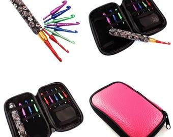 Interchangeable Crochet Hook Set, with Case, Black and White Paisley