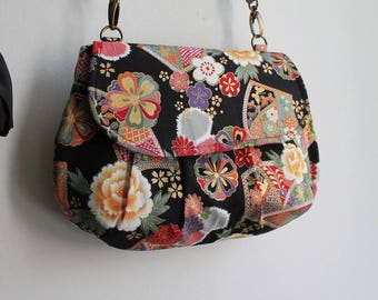 Clutch bag evening bag magnetic closure - golden black multicolored - Kana