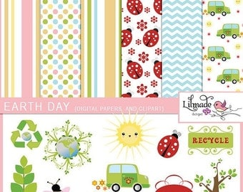 50%OFF Earth Day digital papers and clip arts bundle. Earth day clipart, Earth day digital paper, clipart for teachers, P81