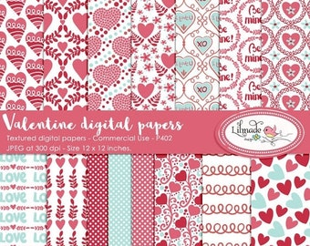 50%OFF Valentine digital paper, Valentine scrapbook paper, patterned digital papers, Valentine patterns, DIY Valentine party, P402