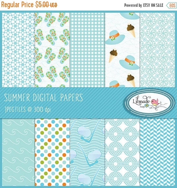 65%OFF SALE Summer digital paper, summer vacations digital paper, beach vacations digital paper, summer scrapbook paper, P82