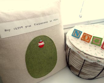 May OLIVE Your Christmases Be White - Pillow Cover  - Decorative Pillow - -Christmas Gift - Gift for Mom - Holiday Gift