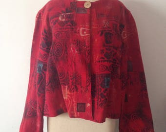 Red Vintage Chicos Cotton Jacket