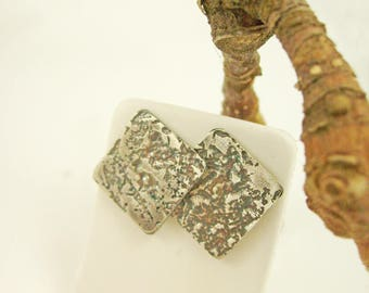 """Silver earrings oxidized, textured """"Japanese style"""", square"""