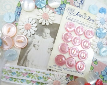 Sweet Cheeks  Vintage Baby Doll Antique Studio Photograph Quilt Square Trims Carded Buttons Project Supply Lot DIY