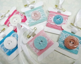 Charming Embroidery Floss Thread Bobbin Cards Tags Vintage Sewing Button Lace Embellished  Lot (6) Each Decorations Ornaments