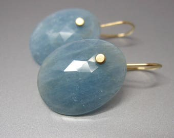 Aquamarine Rose Cut Oval Drops Solid 14k Gold Earrings