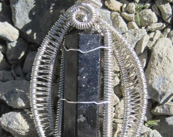 Ancient Wisdom/Nuummite and Sterling Silver Wire Wrap Pendant, One of a Kind, Handmade, Reversable, Art