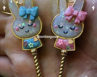 Magical Girl Bunny Want Kawaii Clay Gold Bezel Pendants