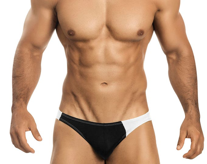 Black & White Asymmetrical Swim Bikini for Men by Vuthy Sim    3-1