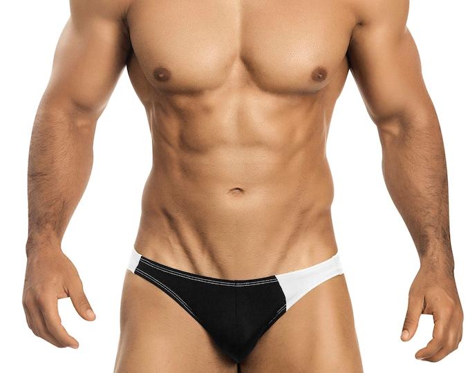 Black & White Asymmetrical Swim Bikini for Men by Vuthy Sim    3-1