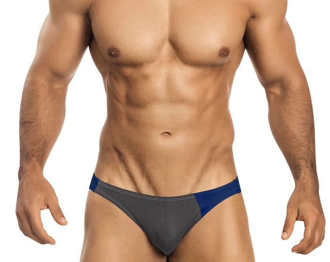 Gray & Royal Blue Asymmetrical Swim Bikini for Men by Vuthy Sim    18-8