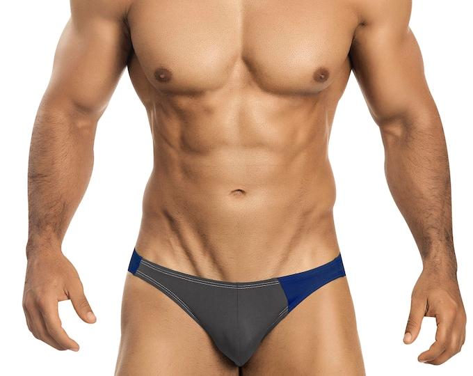 Gray & Royal Blue Asymmetrical Swim Bikini for Men by Vuthy Sim    18-8