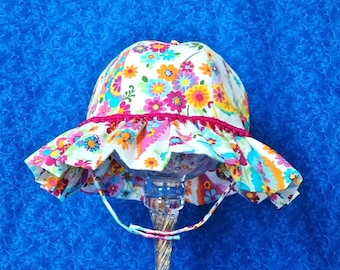 Toddler Sun Hat White with Bright Colorful Flowers and Chin Straps with Snaps