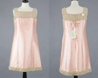 Vintage 1960s Beaded Pink Silk Dress, Deadstock Dynasty British Crown Colony of Hong Kong, 60s Wedding Party Dress, Medium