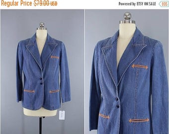 FLASH SALE - Vintage 1970s Denim Blazer / 70s Jean Jacket / WHIP O Will / Denim Jacket / Western Blazer