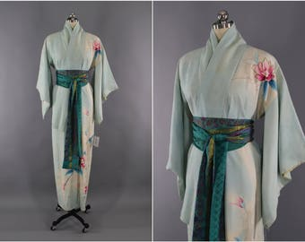 1950s Vintage Silk Kimono Robe / Wedding Dressing Gown Lingerie / Downton Abbey Art Deco / Mint Green Floral Print