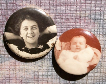 Pair Celluloid Mourning Pins / Photo Buttons - Lady & Baby