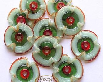 Red and Green Lampwork Glass Flowers Disc Beads ,FREE SHIPPING, Handmade Lampwork Glass Beads - Rachelcartglass