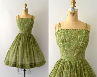 1950s Vintage Dress - 50s Green Cotton Sundress - Carol Craig