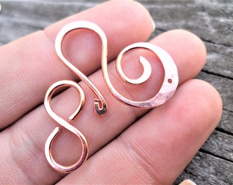 Large Swirl Clasp in Sterling Silver, Copper, Oxidized Copper or NuGold Brass