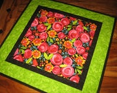 """Quilted Table Topper, Pink Roses Orange Blue Summer Flowers 21 x 21"""" Reversible Handmade Summer Spring Garden Bright Dining Coffee Table Mat"""