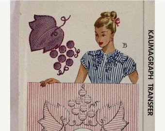 ON SALE 40s Vintage McCall Kaumagraph Transfer Pattern 1242 Blue Complete Unused with 1946 Receipt